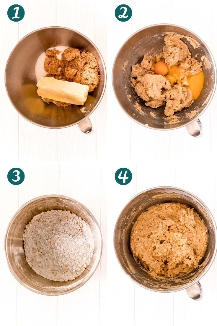 Step by step photo ocllage showing how to make ranger cookies.
