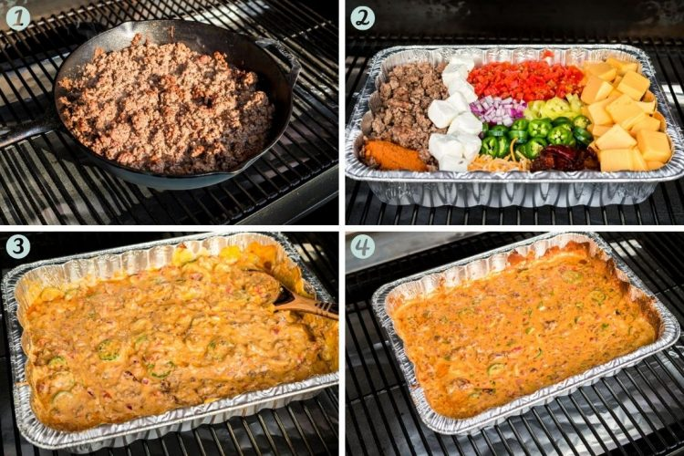 Step-by-step photo collage showing how to make smoked queso dip.