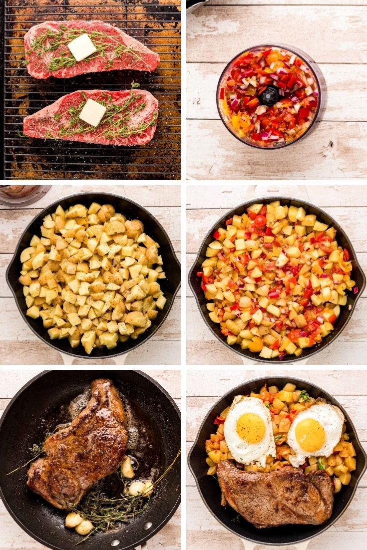 Step by step photo collage showing how to cook steak and eggs.