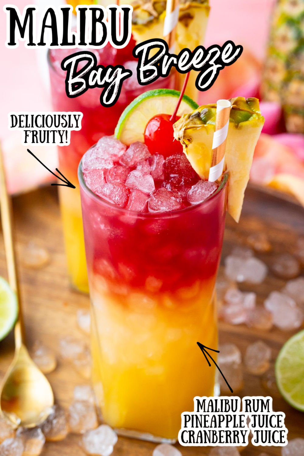 Malibu Bay Breeze is a fruity, layered cocktail bursting with the best tropical flavors! Just one sip of this refreshing drink of coconut rum, pineapple juice, and cranberry juice will have you wishing you were on island time! via @sugarandsoulco