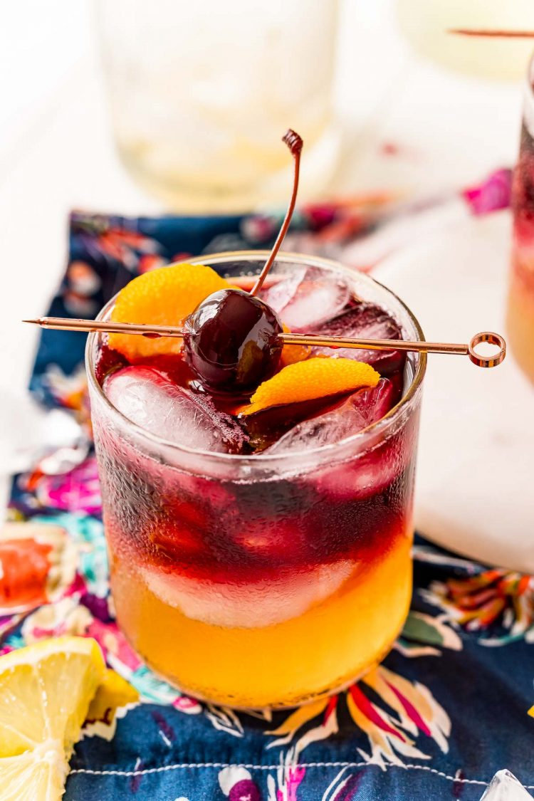 Close up photo of a New York Sour drink.