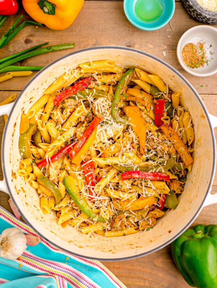 Overhead photo of a pot of Rasta pasta.