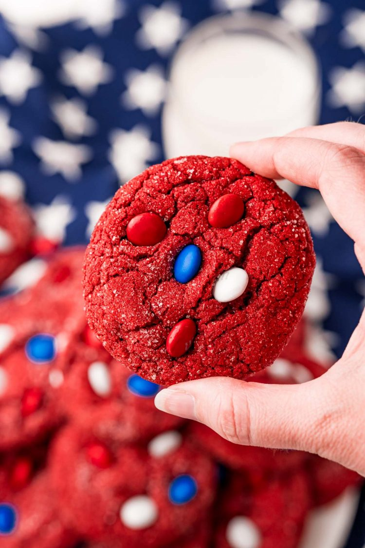 A woman's hand holding a red, white, and blue 4tho of july cookie.