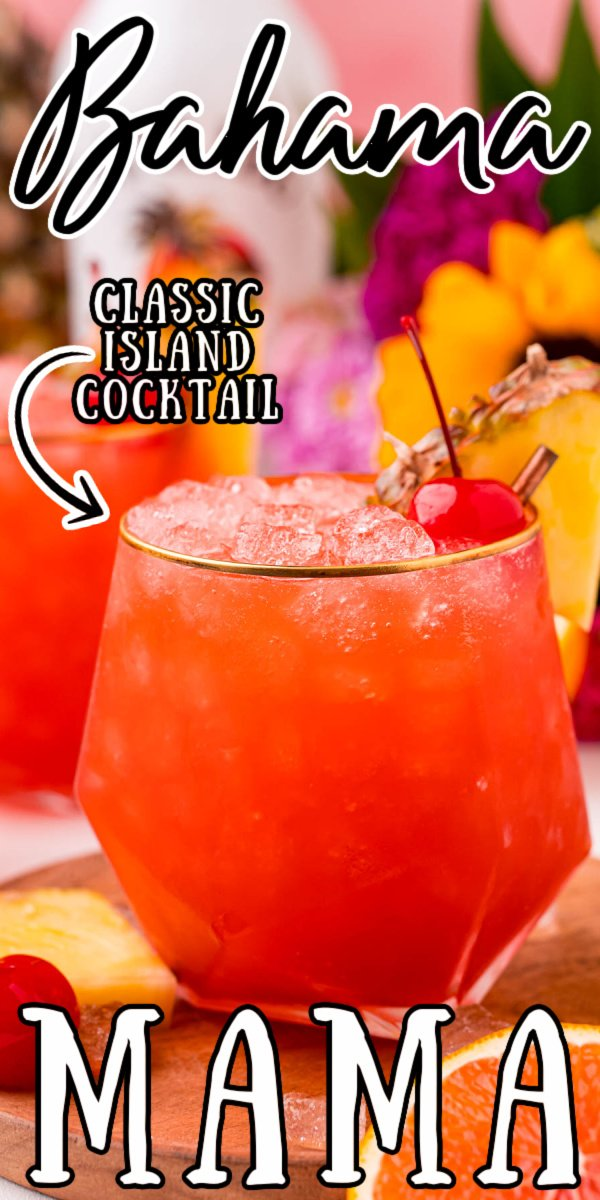 This Bahama Mama Cocktail is overflowing with tropical flavor that will have you dreaming of sunshine, summertime, and your favorite beach! Made with two kinds of rum, orange and pineapple juice, and grenadine for a flavor-packed island cocktail! via @sugarandsoulco