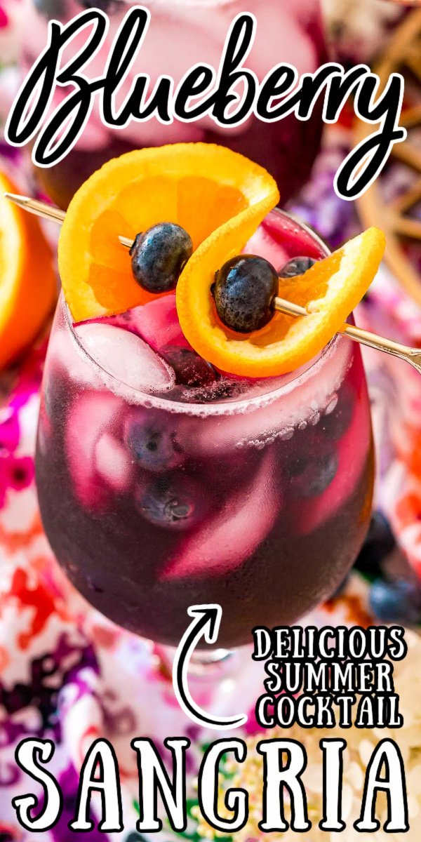Blueberry Sangria is a large batch cocktail that combines 4 ingredients with blueberries and Cara Cara oranges for a refreshing Summer drink! via @sugarandsoulco