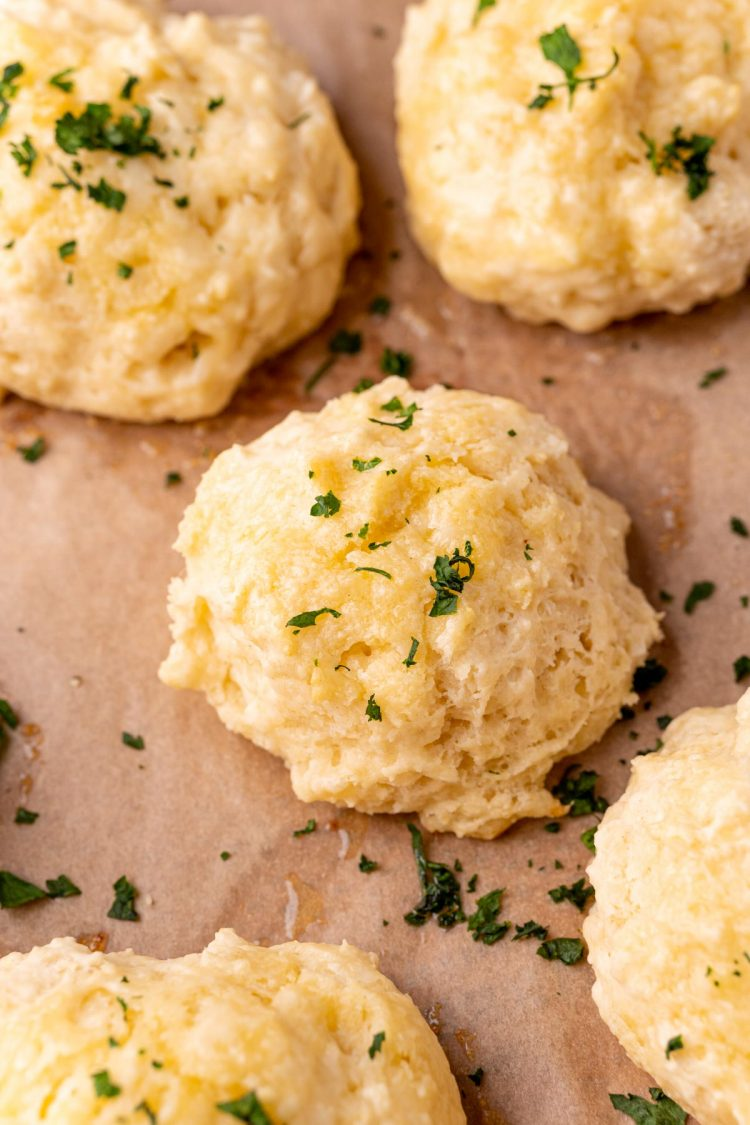 Drop biscuits on a parchment lined baking sheet.