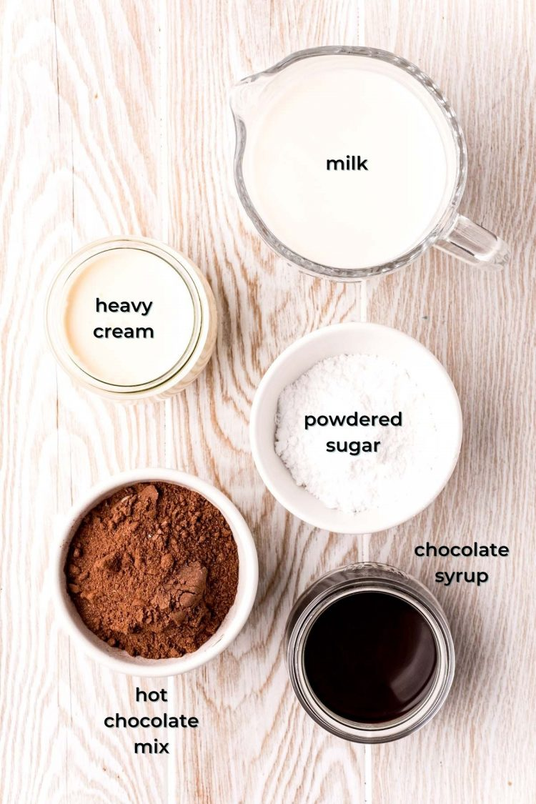 Overhead photo of ingredients to make frozen hot chocolate prepared on a wooden table.