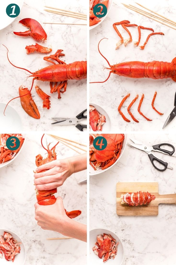 Step-by-step photo collage showing how to breakdown a lobster.