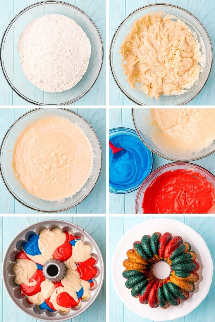 Step by step photo collage showing how to make a red, white, and blue fourth of july cake in a bundt pan.