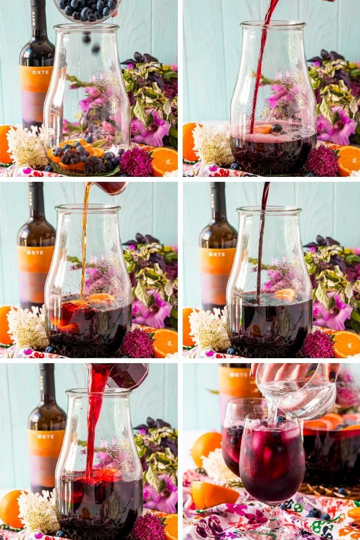 step-by-step-photo collage showing how to make blueberry sangria.
