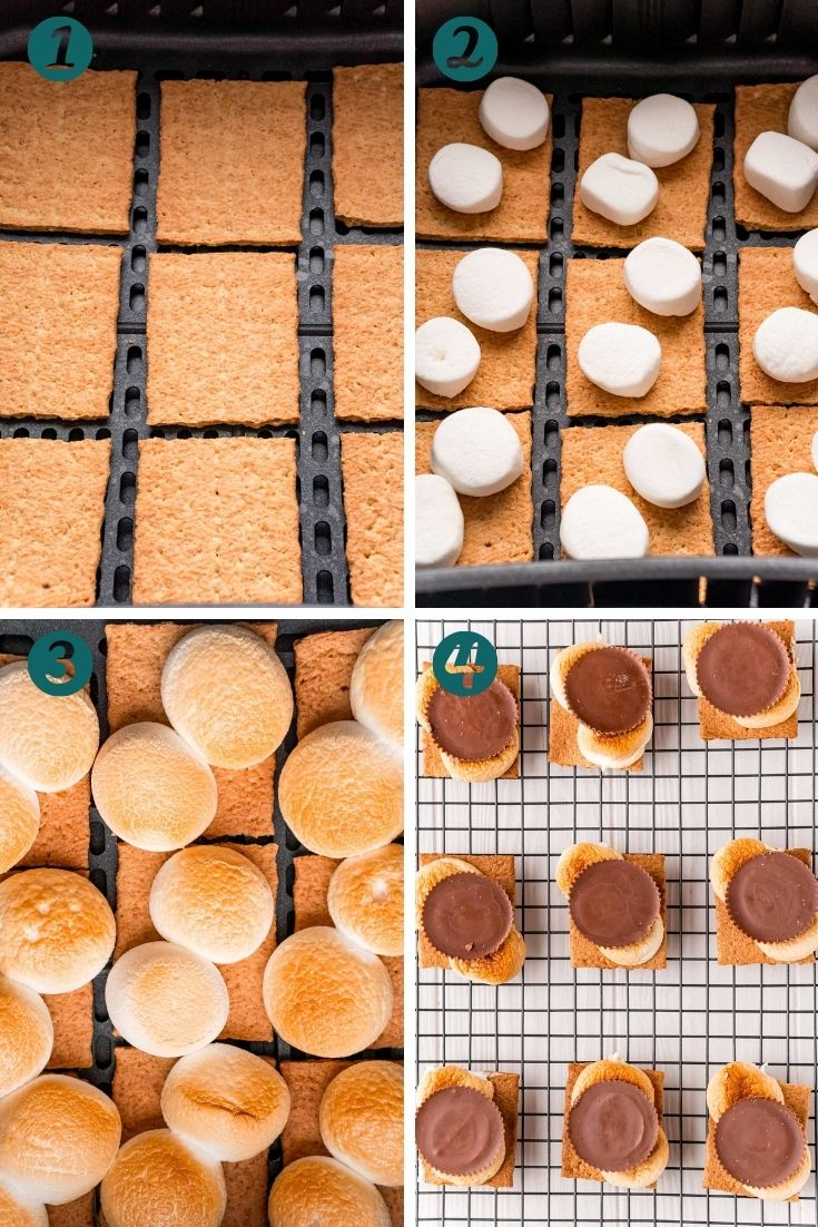Step-by-step photos showing how to make smores in an air fryer.
