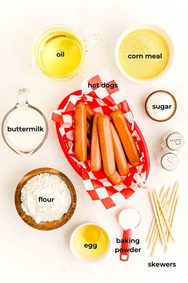Overhead photo of ingredients prepped to make mini corn dogs with labels.