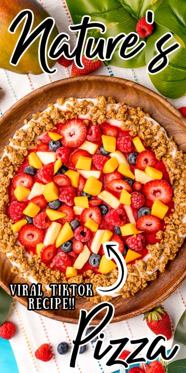 Nature's Pizza is an easy, light, and refreshing breakfast or snack recipe made with yogurt, granola, and fresh fruit. This viral TikTok recipe is then frozen before enjoying! via @sugarandsoulco