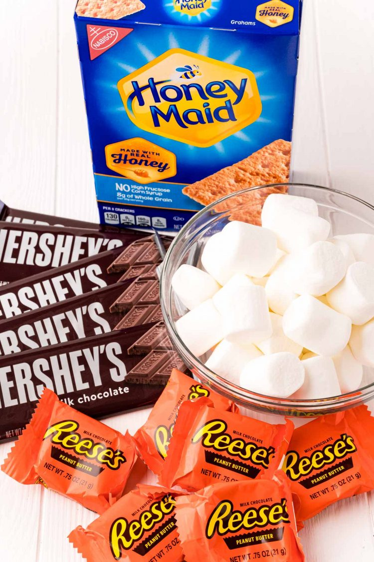Close up photo of ingredients to make smores in the air fryer.