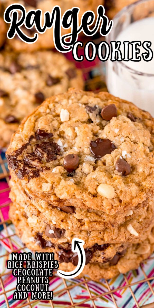 This Ranger Cookies Recipe is my favorite version of a classic! Made with oats, Rice Krispies, coconut, peanuts, and chocolate chips, these chewy cookies are filled with delicious flavors and textures!  via @sugarandsoulco