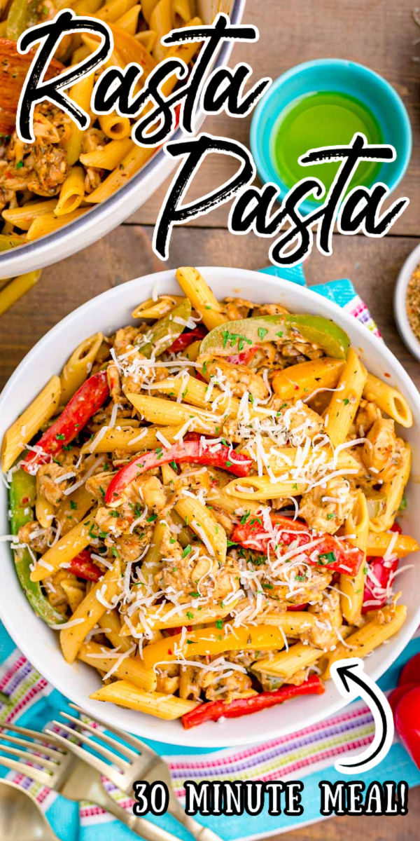 Rasta Pasta is loaded with tender chunks of chicken, bell peppers, and jerk seasoning for a quick delicious meal that's ready in just 30 minutes! via @sugarandsoulco
