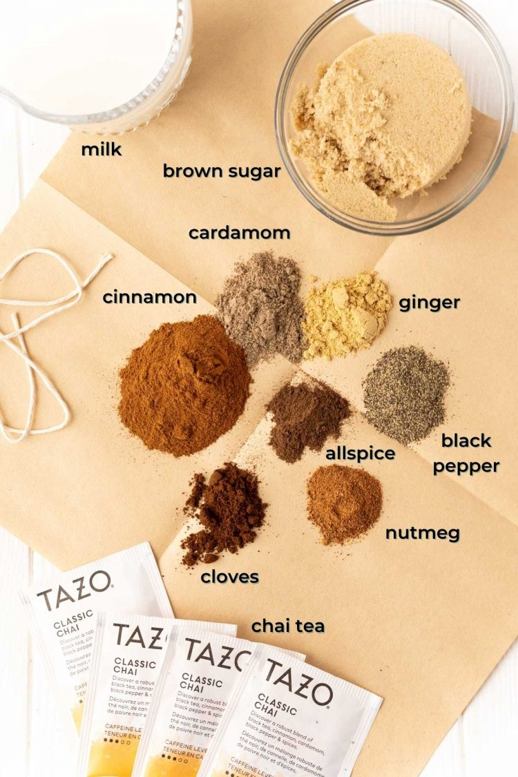 Overhead photo of ingredients used to make iced chai tea latte.