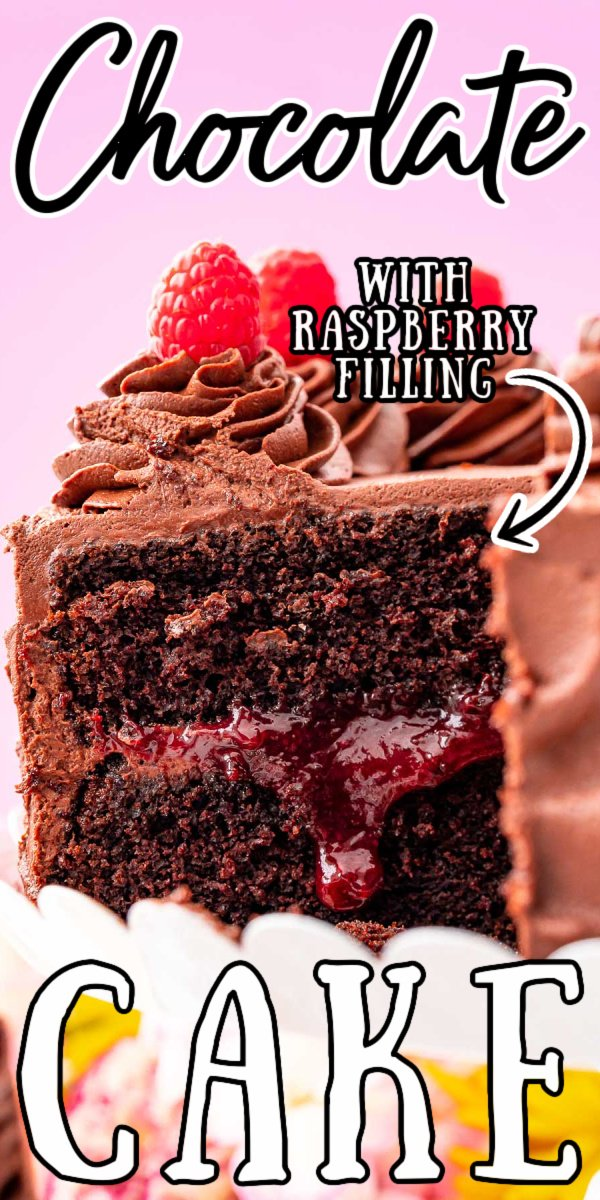 Dark Chocolate Raspberry Cake is perfect for special occasions! It's made with two rich chocolate cake layers, homemade raspberry filling, and a whipped Chocolate Ganache frosting.  via @sugarandsoulco