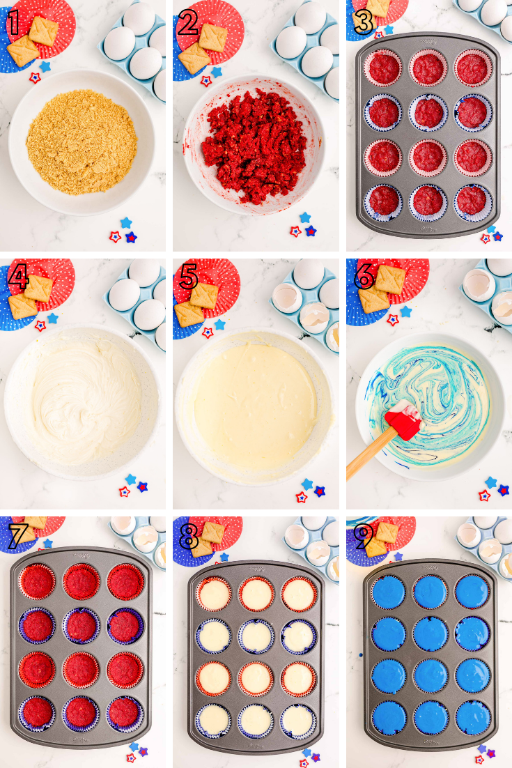Step by step photo collage showing how to make red, white, and blue 4th of July mini cheesecakes.