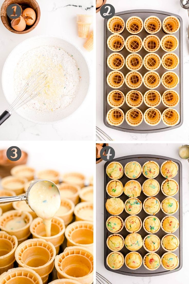 Step-by-step photo collage showing how to make ice cream cone cupcakes.
