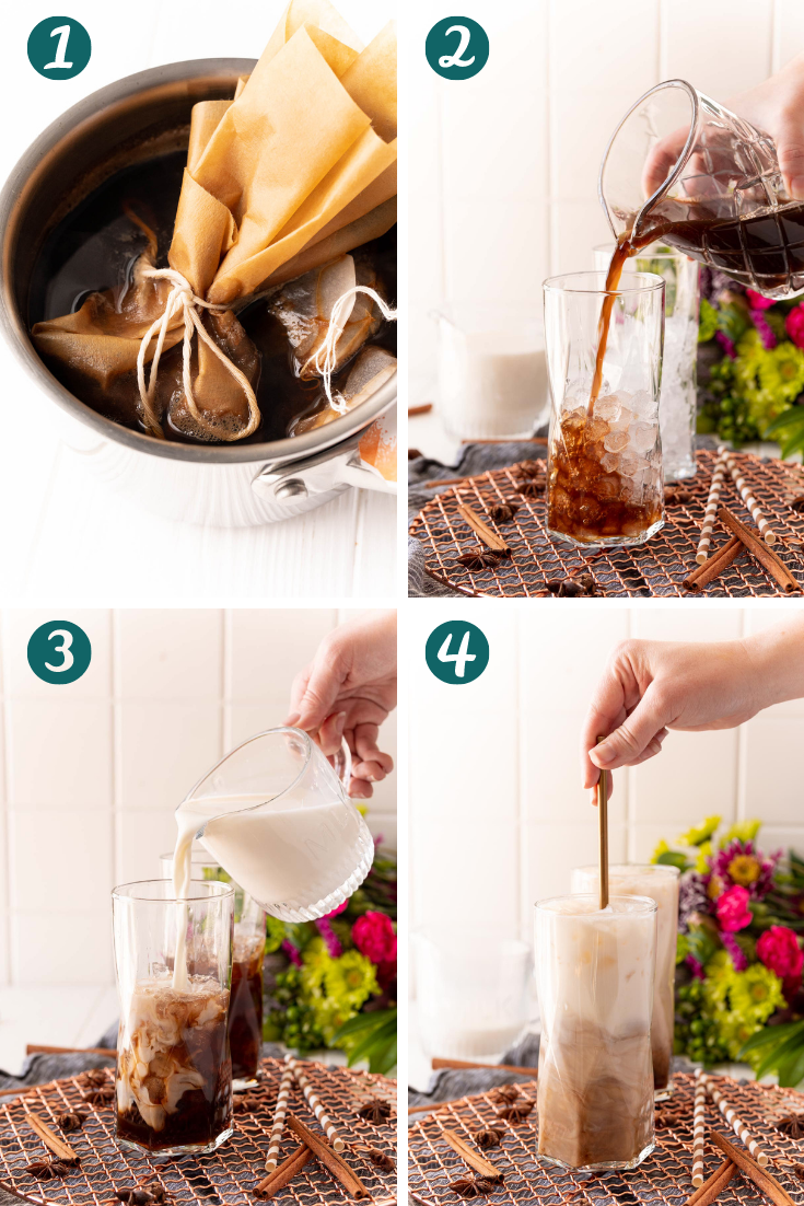 Step-by-step photo collage showing how to make iced chai latte.