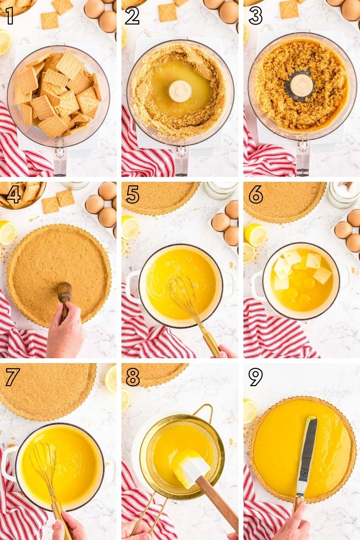 Step by step photo collage showing how to make a lemon tart from scratch.