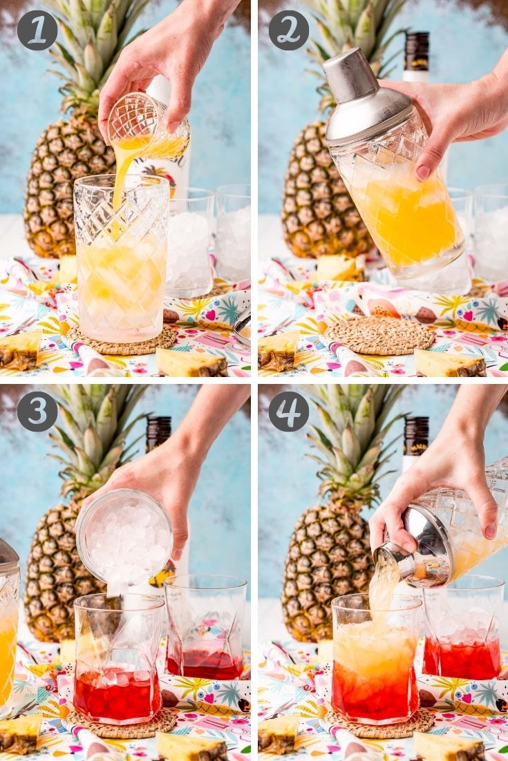 step-by-step photo collage showing how to make a Malibu sunset drink.