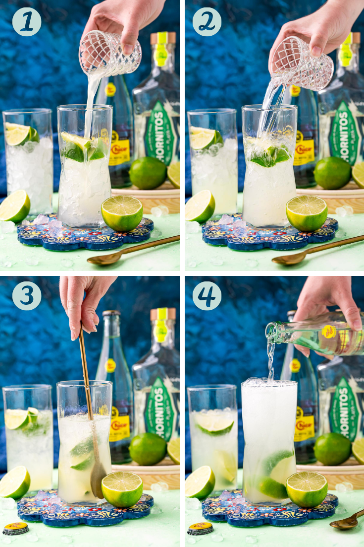 Step by step photo collage showing how to make ranch water.