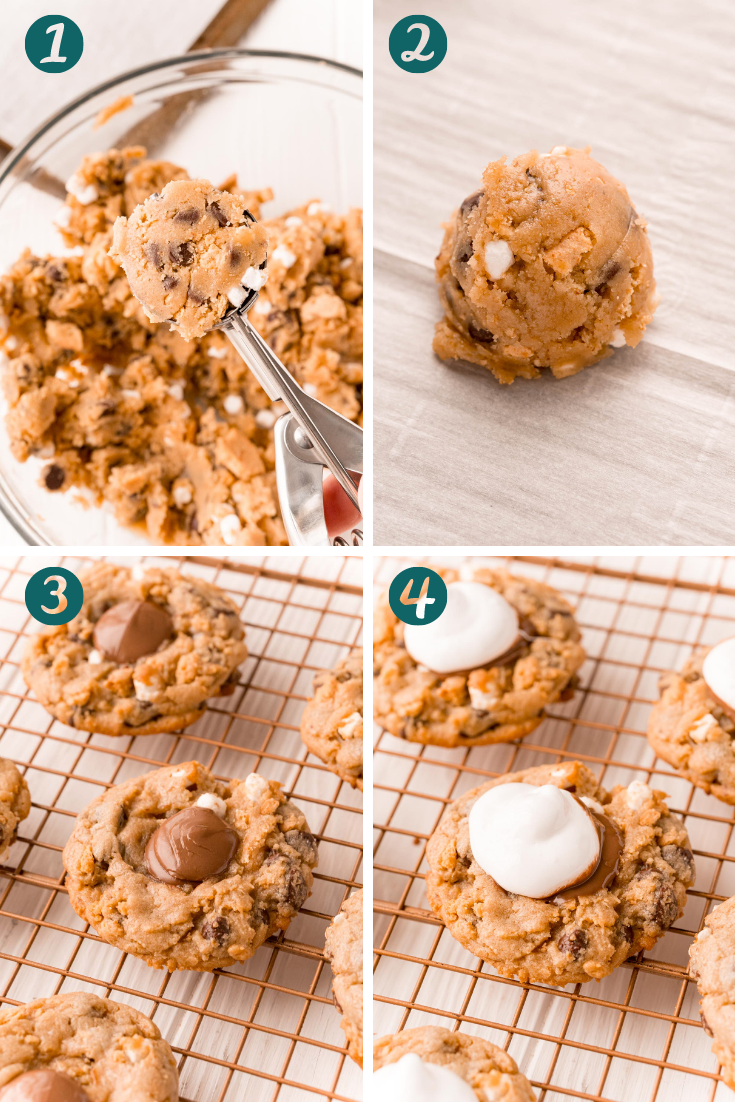 Step-by-step photo collage showing how to make s'mores thumbprint cookies.
