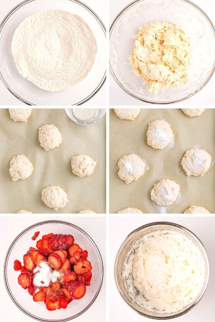 Step by step photo collage showing how to prepare strawberry shortcake.
