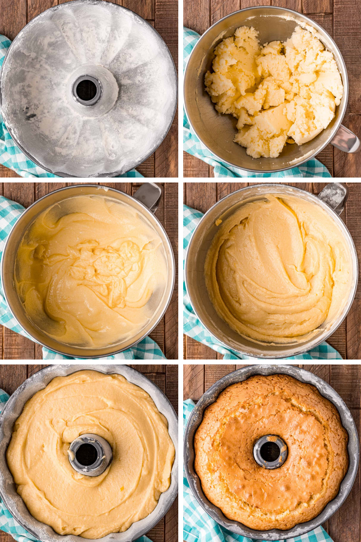 Step-by-step photo collage showing how to make whipping cream cake.