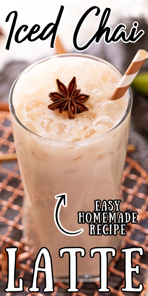 Iced Chai Latte is made with chai tea bags, whole milk, brown sugar, water, and pantry staple spices to create the best chai latte at home! via @sugarandsoulco