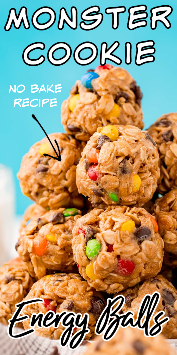Monster Cookie Energy Balls are a quick, tasty but healthy snack option that can be made ahead of time so you can enjoy them all week long! via @sugarandsoulco