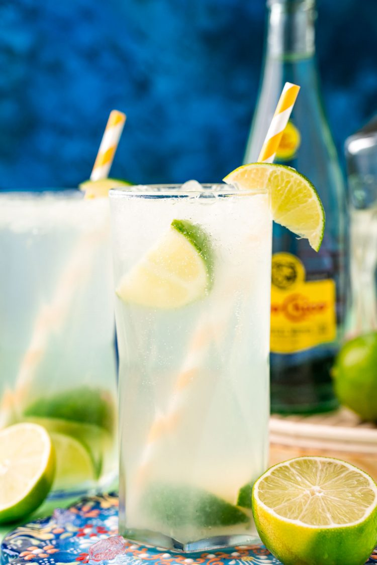 Close up photo of a highball glass with ranch water in it garnished with a lime and paper straw.