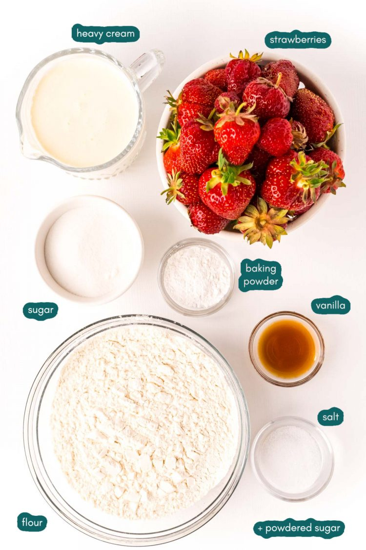 Overhead photo of ingredients to make strawberry shortcake prepped on a white table.