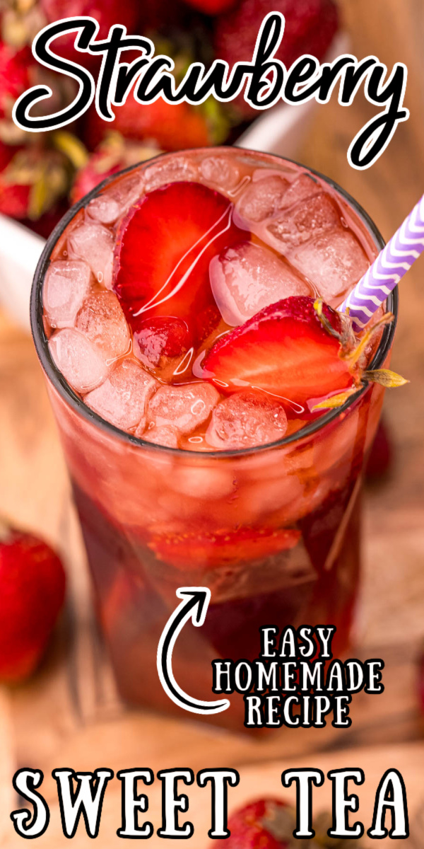 This Iced Strawberry Sweet Tea uses a 3-ingredient homemade strawberry simple syrup to sweeten up freshly steeped tea in just 35 minutes! Perfect for cooling down with on those hot summer days! via @sugarandsoulco