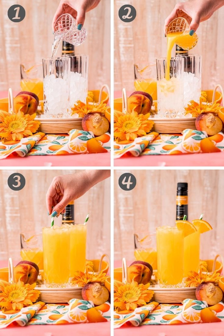 step-by-step photo collage showing how to make a fuzzy navel.