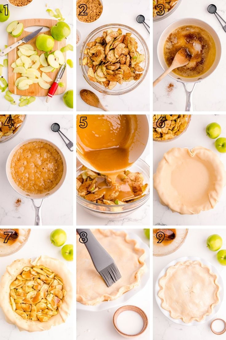 Step-by-step photo collage showing how to make apple pie.