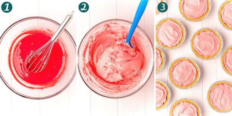 Step by step photo collage showing how to make kool-aid pie.