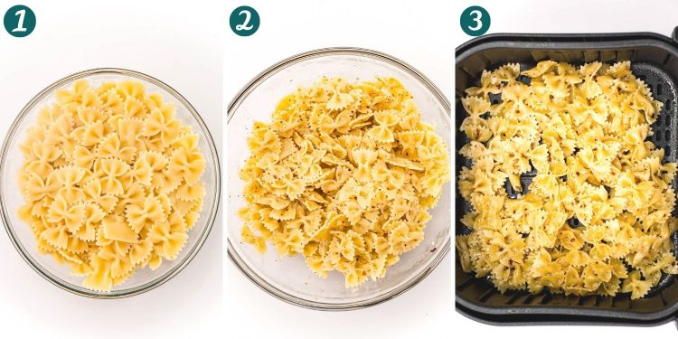Step by step photo collage showing how to make pasta chips in an air fryer.