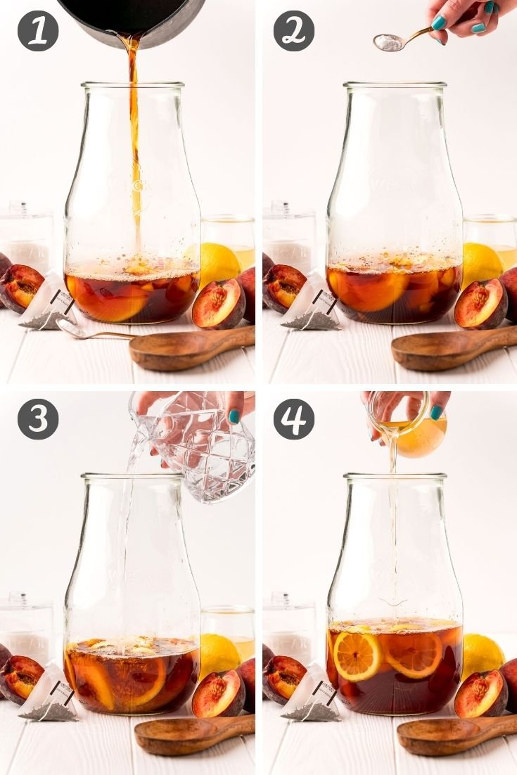 Step-by-step photo collage showing how to make peach iced tea.