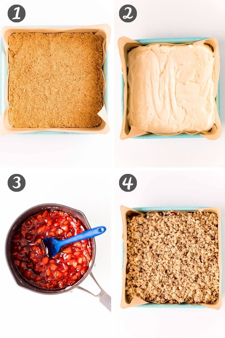 Step by step photo collage showing how to make strawberry cheesecake bars.