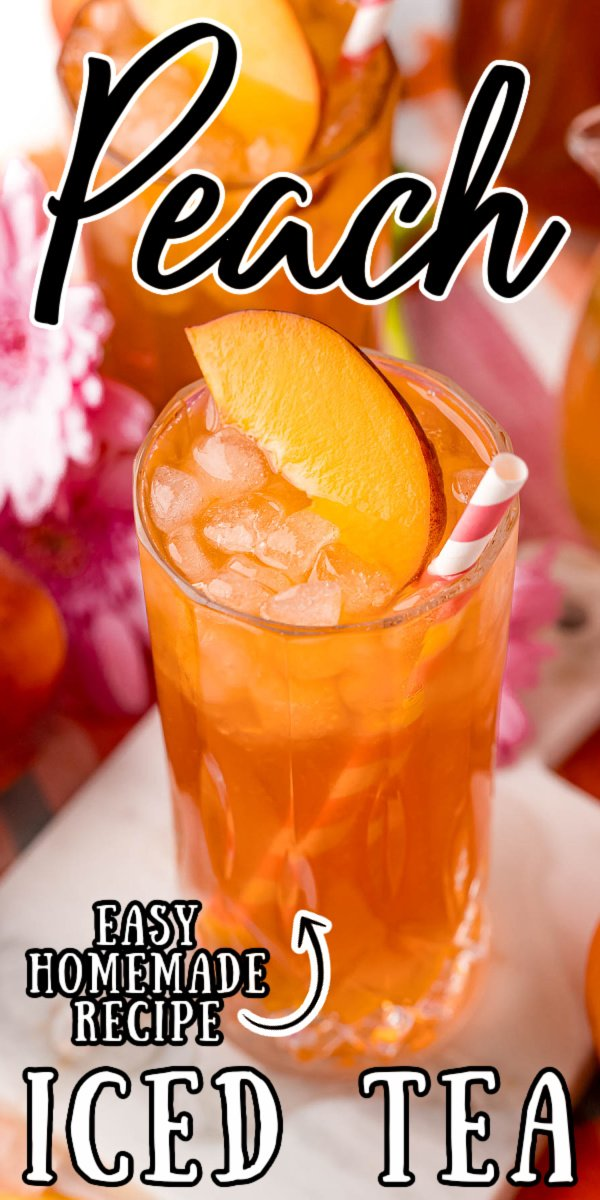 Peach Iced Tea mixes freshly steeped tea with homemade peach simple syrup for the perfect summertime drink that you'll instantly love!  via @sugarandsoulco