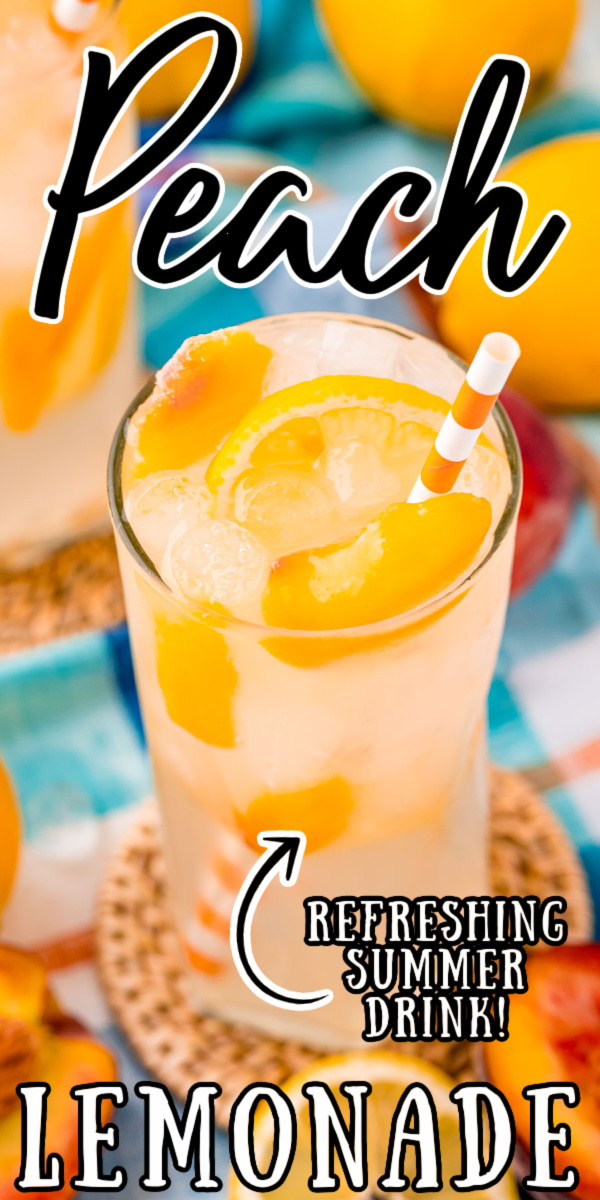 Peach Lemonade combines homemade peach simple syrup with water and lemon juice to make the best refreshing summertime drink! Only 30 minutes of hands-on time is needed to mix up a large pitcher! via @sugarandsoulco