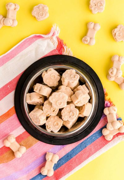 Overhead photo of frozen dog treats in a dog bowl on a striped napkin.