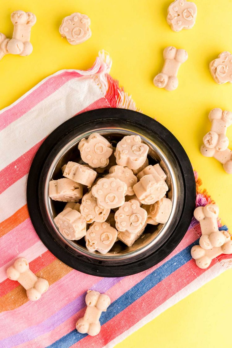 Overhead photo of frozen dog treats in a dog bowl on a colorful napkin.