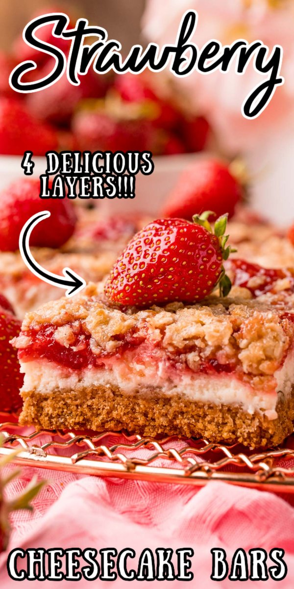 Strawberry Cheesecake Bars are made with a graham cracker crust, creamy cheesecake, strawberry filling, and an oatmeal crumble topping! This easy-to-serve dessert is one everyone will love! via @sugarandsoulco