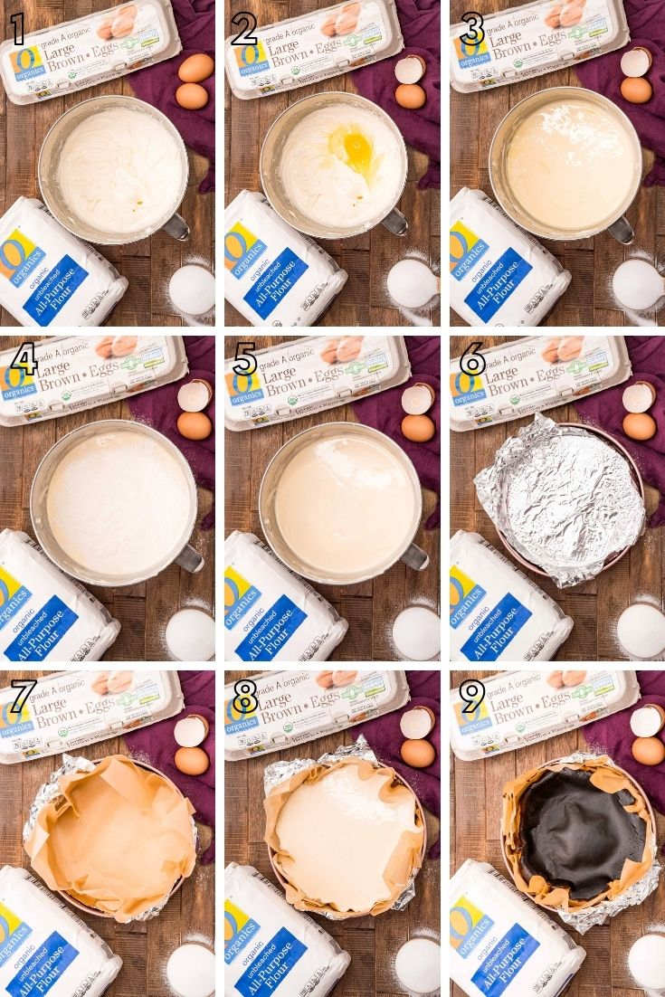 step-by-step photo collage showing how to make a basque cheesecake from scratch.