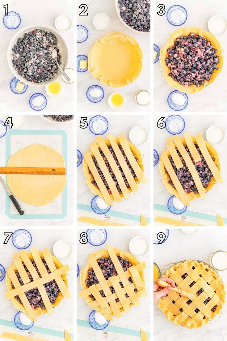 Step-by-step photo collage showing how to make blueberry pie from scratch.