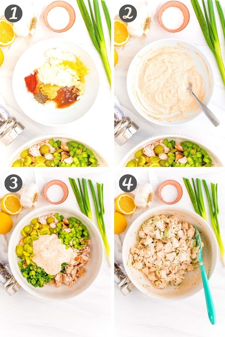 Step-by-step photo collage showing how to make chicken salad from scratch.